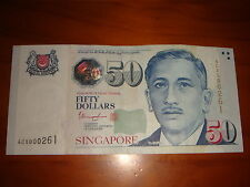 Singapore $50 Tharman, Low Fancy Number 000261, nice & decent circulated