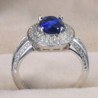 Noble Women Oval Cut Blue Sapphire 925 Silver Jewelry Wedding Ring Size 6-10