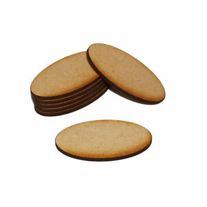 OVAL (ELLIPSE) 100mm x 70mm NATURAL MDF BASES for Roleplay Miniatures
