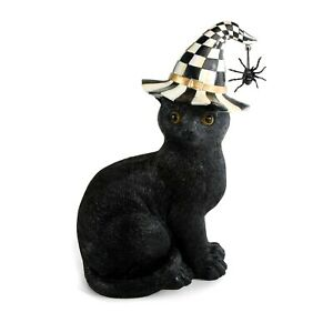 """NEW Mackenzie Childs 10"""" BLACK CAT in COURTLY CHECK HAT with SPIDER  Halloween"""