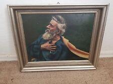 Signed J. Berkenheier 1928 Framed Religious Man Clutching Chest Oil On Board