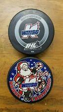 Kalamazoo Wings Hockey Pucks - Merry Christmas 2006 & Black Sponsor Puck - #3A7