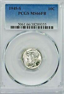 1945-S 10C Mercury Silver Dime PCGS MS66FB (SI:Y-9355) 99c NO RESERVE
