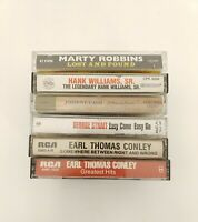 Country Music Cassette Tapes Lot of 6 Cash Williams Robbins Strait Conley