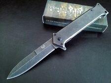 Couteau Combat Ready Milano Mafia Liner Lame Acier 440 Manche Acier CBR345