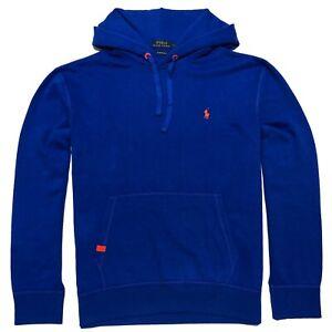 Ralph Lauren Pullover Hoodie Men Royal Blue Orange Pony Embroidered Fleece L LT