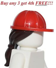 ☀️NEW Lego Minifig Hair Female Girl RED HARD CONSTRUCTION PONYTAIL Hat Head Gear