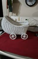 Vintage White Wicker Hooded Doll Buggy Stroller Baby Doll