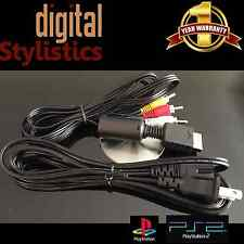 A/V Cable & AC Power Cord (NEW) Playstation 1 & 2, PS1 PS2 Audio Video Supply AV