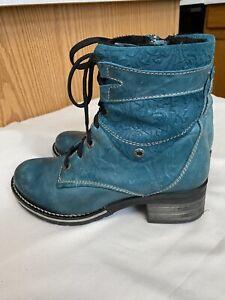 DROMEDARIS Kara Women's Leather Boot Teal Blue EUR 37 (US 6.5) Lace Up & Zipper