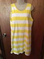American Crown Sleeveless Yellow & White Dress Size Large