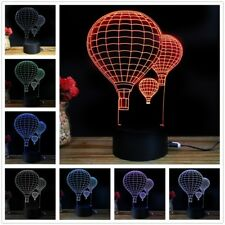 7 Color Touch Switch 3d LED USB Night Light Home Party Decor Desk Lamp Xmas Gift Multi-color #3 Hot Air Balloon Pattern
