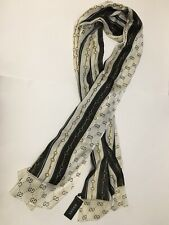 """NWT authentic Gucci GG chain print 100% silk scarf navy/white color 70""""x30"""""""