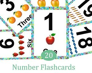 Numbers 0-20 Flash Cards Kids Toddlers  Educational Pre School Learning