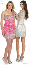 SALE ! 1 SLEEVE SHORT SEMI FORMAL COCKTAIL PROM HOMECOMING DANCE DRESS UNDER 100
