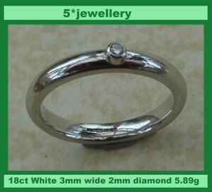 real 18ct white gold court wedding band brilliant cut diamond solitaire ring