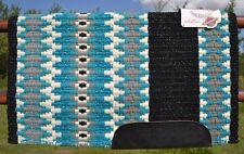 Mayatex Wool Show Saddle Blanket Pad 34x40 Black Turquoise Grey White Metallic