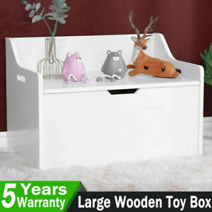 Large Toy Box Chest Wooden Lid Storage Blanket Grey White Childrens Kids Tidy