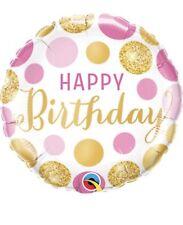 "Happy Birthday Pink & Gold Dots 18"" Balloon Birthday Party Decorations"