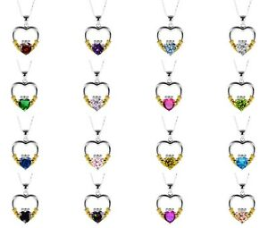 14k Yellow Gold Plated Heart Cut Birthstone CZ Sterling Silver Claddagh Necklace