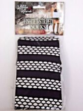 Witches Wizards Black Fishnet Striped Women's Knee Highs Costumes Halloween