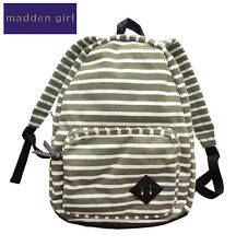 New Madden Girl MGKOLLAR OLIVE White Striped Knit Canvas School Backpack NWT ebc627152c02e