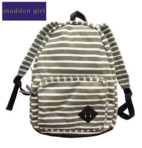 New Madden Girl MGKOLLAR OLIVE White Striped Knit Canvas School Backpack NWT