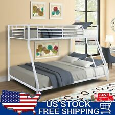 Twin Over Full Bunk Beds Ladder Teens Adult Dorm Bedroom Furniture White