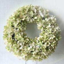 Oversized faux white HYDRANGEA WREATH realistic wall door hanging decor display