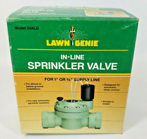 "Lawn Genie 204LG in line sprinkler valve for 1"" or 3/4"" supply line NOS Open Box"