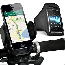 Quality Sports Armband Case Cover+Bike Bicycle Handlebar Phone Holder✔BLACK