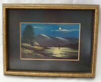 Framed Miniature Landscape Oil Painting of Lake Pines Boat POSTCARD 1920's ee