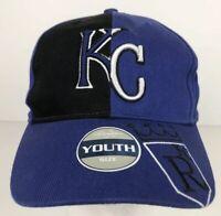 Kansas City Royals YOUTH Blue & Black Baseball Cap Adjustable 3D Logo MLB NWT