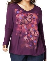 Just My Size JMS Plus Size Butterfly Plum Tee Shirt L Sleeve Top 1X  2X 3X 4X