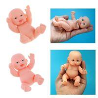 2Pcs 11cm Realistic Vinyl Baby Doll Lifelike Nude Newborn Boy Doll Simulation