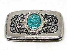 Green Amazonite Stone Cabochon Silver Belt Buckle Vintage