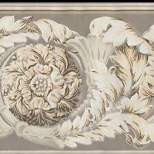 Victorian Medallion Scrolls Wallpaper Border Gold Brown White - York Borders 632