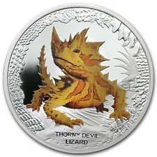 Tuvalu 2014 Silver $1 Remarkable Reptiles Series Coin - Thorny Devil Lizard