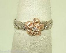 Hawaiian 2-T 14k Rose White Gold Pierced Queen Emma Satin Plumeria CZ Ring 5.5