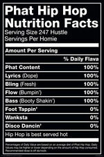 PHAT HIP HOP NUTRITION FACTS - POSTER 22x34 SHRINK WRAPPED FUNNY COLLEGE 241171