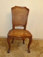 19 c. Italian Provincial Rococo Carved Walnut Chair with Rattan-Caned Seat Back