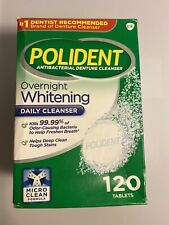 Polident Overnight Whitening Antibacterial Denture Cleanser Effervescent 120 CT