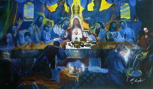"ERNST FUCHS 1930-2015 ""The last supper"" HAND SIGNED CANVAS AUSTRIA ARTIST"