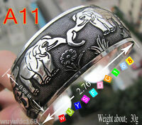 Lucky flowers elephant Tibet Tibetan Silver Bangle Cuff Bracelet