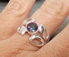 925 Silver MYSTIC TOPAZ Ring Sz O-7 R515~Silverwave*uk Jewellery