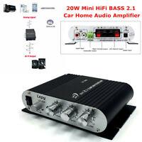 Lepy LP-838 20W Mini HiFi BASS 2.1 Car Home Audio Amplifier Mobile PC Auto 12V