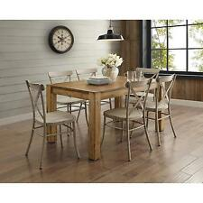 7 Piece Rustic Brown Dining Room Set Kitchen Furniture Distressed White Chairs