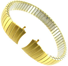 9mm Speidel Curved End Twist-O-Flex Gold Tone Stainless Steel Watch Band BOGO!