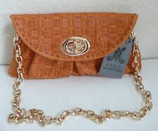 Carla Mancini Sidney Mini Clutch Shoulder Bag Orange Woven Leather CM49W