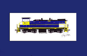 "Long Island Rail Road MP15AC #150 11""x17"" Matted Print Andy Fletcher signed"